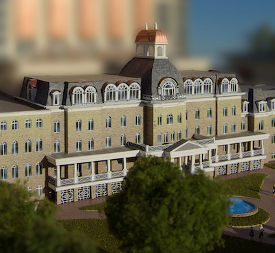 IMAGE: A portion of the roof and copula of the historic Loretto Academy in Niagara Falls, Ont., would be preserved as part of a $1-billion hotel and condo development proposed by 3Bridges. (Rendering courtesy 3Bridges)