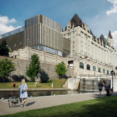 IMAGE: An addition to be built onto the back of Ottawa's historic Fairmont Chateau Laurier has created intense controversy. (Courtesy Larco Investments)