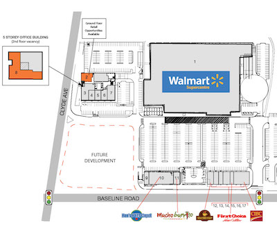 IMAGE: SmartCentres REIT and Selection Group plan to build two residential apartment towers, one for seniors living, at this West Ottawa retail site, Laurentian Place. (Courtesy SmartCentres)