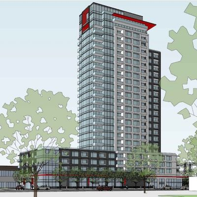 IMAGE: RioCan plans this 24-storey, mixed-use apartment tower as the first phase at its Westgate shopping centre redevelopment in Ottawa. (Courtesy RioCan)