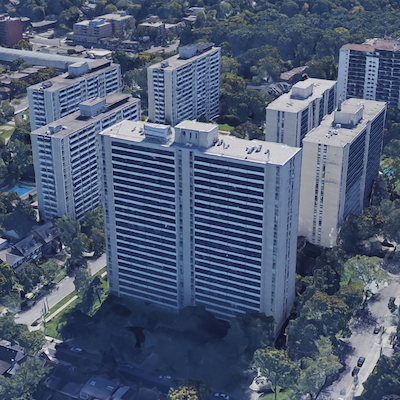 IMAGE: Minto Apartment REIT has bought a 40 per cent managing interest in the three-tower High Park Village Apartments in Toronto. (Google Maps image)