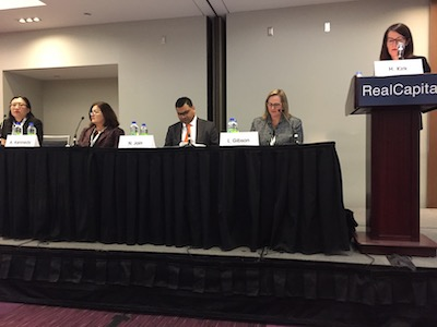IMAGE: Members of the finance panel during the Real Capital conference in Toronto in February: From left RioCan REIT senior vice president and CFO Qi Tang, KingSett Capital COO and CFO Anna Kennedy, Sienna Seniors Living CFO and CIO Nitin Jain, CT REIT senior vice-president and CFO Lesley Gibson, and Cominar REIT executive vice-president and CFO Heather Kirk. (Steve McLean RENX)