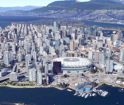 IMAGE: The office vacancy rate in downtown Vancouver (shown) has dropped into a tie with Toronto, at 2.6 per cent CBRE says. (Google Maps image)