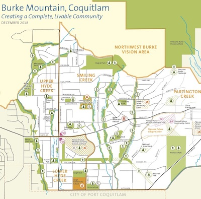 IMAGE: A map showing the City of Coquitlam, B.C., plans for the Burke Mountain area. Smiling Creek is in the upper left. (Courtesy City of Coquitlam)