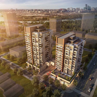 IMAGE: Rendering of the two towers which will comprise 1932 by Bateman. It will be built in partnership with Pangman Developments in Edmonton. (Courtesy Bateman/Pangman)