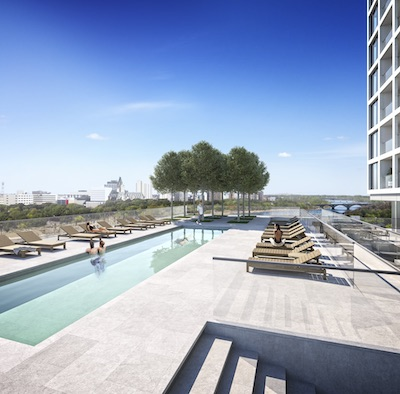 IMAGE: The Highpoint condos development in Saskatoon will feature an outdoor terrace and saltwater pool. (Courtesy Urban Capital/Victory Majors)