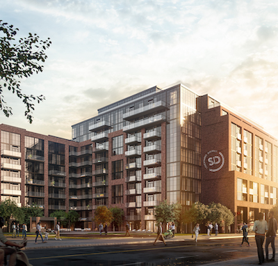 IMAGE: The Stockyard District Residences in Toronto. (Rendering courtesy Marlin Spring)