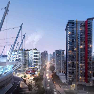 IMAGE: Artist's rendering of a new 17-storey office tower proposed for 720 Beatty Street, beside BC Place in Vancouver. (Courtesy Westbank)