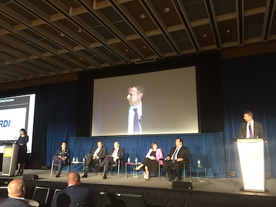 IMAGE: The executive roundtable at CAIC 2019 in Toronto: moderators Paula Gasparro of CMLS Financial, and James Wilson of Realstar Management, panelists Daniel Drimmer of Starlight Investments, Ugo Bizzarri of Timbercreek Asset Management, Philip Fraser of Killam Apartment REIT, Anne Morash of GWL Realty Advisors Inc., and Adrian Rocca of Fitzrovia Real Estate. (RENX Steve McLean)