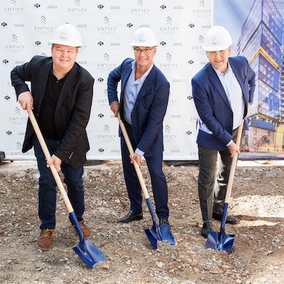 IMAGE: The official groundbreaking ceremony for Enticy. Fom left are Richard Jutras, project director of Omnia Technologies; Jean-François Beaulieu, president of Omnia; and Denis Houle, senior director, Claridge Real Estate. (Courtesy Enticy)