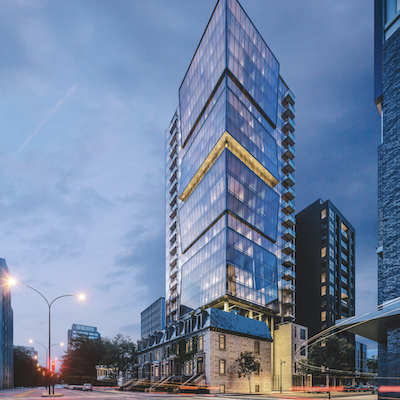 IMAGE: Rendering of the 23-storey Enticy condo tower in Montreal, being developed by Omnia Technologies. (Courtesy Omnia)