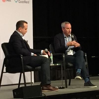 IMAGE: Sidewalk head of development Josh Sirefman, right, speaks during an interview with Spanier Group president Rob Spanier at the Sept. 17 RealTrends conference at the Metro Toronto Convention Centre. (Steve McLean RENX)