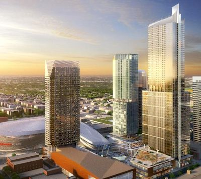 IMAGE: Artist's rendering of the completed PHase One at ICE District in Edmonton, including the Stantec Tower at right. (Courtesy Katz/ICE District)