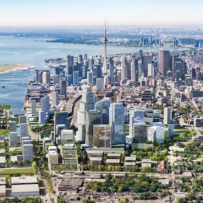 IMAGE: An artist's rendering of the future East Harbour community hub in Toronto. (Courtesy Cadillac Fairview)