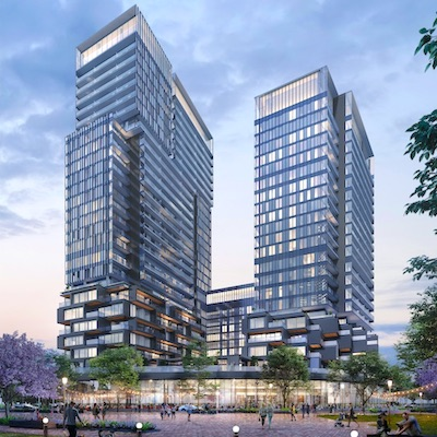 IMAGE: Galleria 01, at left, will be the first high-rise constructed at ELAD Canada's Galleria on the Park development in Toronto. (Courtesy ELAD)