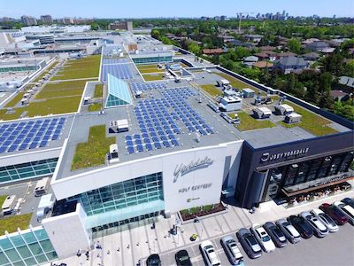 IMAGE: Solar panels atop Oxford Properties' Yorkdale Shopping Centre in Toronto. The company plans to install a million square feet of solar atop its N. American retail and industrial properties. (Courtesy Oxford)