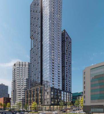 IMAGE: GWLRA is constructing this two-tower apartment development at 455 René Lévesque Boulevard West in Montreal. (Courtesy GWLRA)