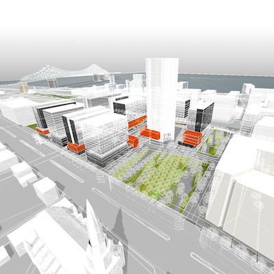 IMAGE: Conceptual drawing showing the layout of the planned Quartier des lumieres district in Montreal, one of nine North American developments participating in a Fitwel Community pilot project. (Courtesy Group Mach)