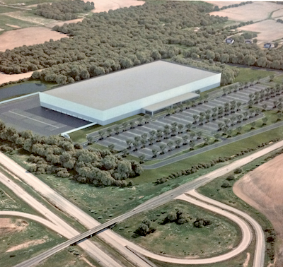 IMAGE: Rendering from a concept plan submitted by Broccolini to permit a light industrial property of up to 65,000 square metres, and 30M in height, in a south Ottawa location along Highway 416. (Courtesy Broccolini)