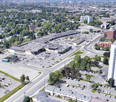 IMAGE: A portion of the Elmvale Acres shopping centre property in East Ottawa will be co-developed into a multiresidential tower by RioCan and Killam. (Google Street View)