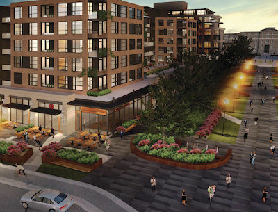 IMAGE: An artist's rendering of the two apartment and retail buildings at one entrance to Greystone Village in Ottawa. Regional Group will partner with Fengate Asset Management to build the apartment towers. (Courtesy Regional Group)