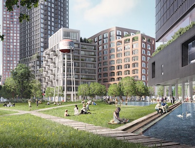 IMAGE: First Capital REIT and CPPIB have submitted a development plan for a 28-acre property at Lakeshore and Park Lawn roads in downtown Toronto. The site is the former Christie cookie factory property. (Courtesy First Capital)