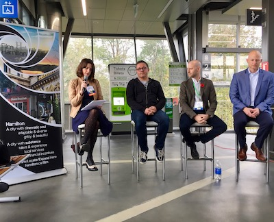 IMAGE: City of Hamilton creative industries lead Debbie Spence (from left); filmmaker/musician Nathan Fleet; Aeon Studio Group partner Jeff Anders; and Momentum Developments founding partner Brock Boehler discuss a proposal to create the Hamilton Studio District development. (Steve McLean RENX)