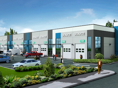 IMAGE: Artist's conception of a proposed industrial strate building at Denciti's West Kelowna Industrial Park. (Courtesy Denciti)