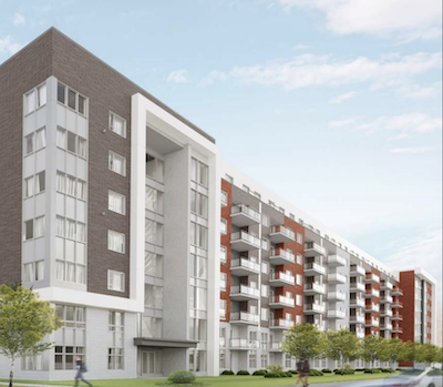 IMAGE: La Récréathèque will be a 347-unit apartment building constructed at the site of a former indoor recreation facility in Laval. (Courtesy DS Architecte)