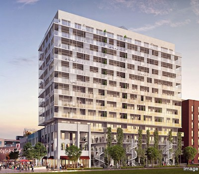 IMAGE: Prével has launched sales for Esplanade Cartier, a 14-storey condo tower which will be the first phase of a mixed-use development including retail and office space in Montreal. (Courtesy Prével)