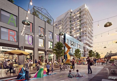 IMAGE: A project house and public square will be constructed as part of Prével's Esplanade Cartier in Montreal. (Courtesy Prével)
