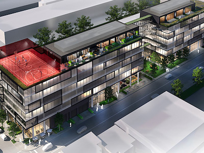 IMAGE: 7240 Waverly is a six-storey, 118,259-square-foot Montreal office building being constructed as a co-working space for Fabrik8. (Courtesy JLL)