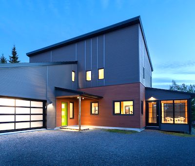 IMAGE: This home by Passive Design Solutions, located in Hubley, N.S., is This home is certified Passive House, pending LEED for Homes Platinum certification, and net zero with its PV solar array. (Courtesy Elemental Photography)