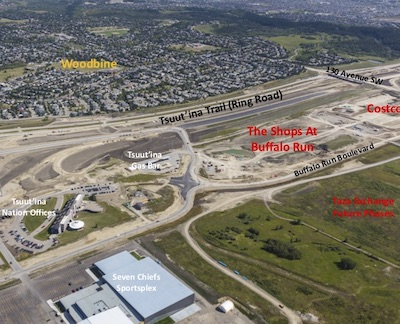 IMAGE: An overview of the massive Taza site on Tsuut'ina Nation land bordering Calgary. The Costco and Shops at Buffalo Run will be located centre right, entertainment and hospitality at lower right, and further development area is also available (unseen in this image) at left. (Courtesy Tsuut'ina Nation, Canderel)