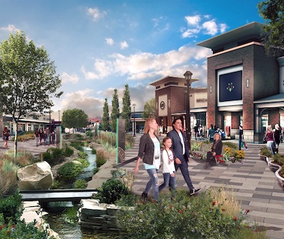 IMAGE: An artist's rendering of some of The Shops at Buffalo Run, at the Taza development on First Nations land bordering Calgary. (Courtesy Tsuut'ina Nation, Canderel)