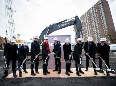 IMAGE: The official groundbreaking for Trinity and Timbercreek's Rideau and Chapel apartment tower. (Courtesy James Park / Trinity)