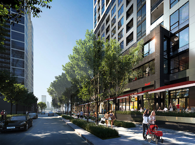 IMAGE: A street-level view of the podium and retail component at the Curtis Block in Calgary. (Courtesy ONE Properties)