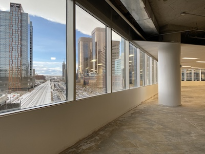 IMAGE: An exterior view looking out from the 80,000-square-foot fourth floor at Gulf Canada Square in Calgary. (Courtesy GWLRA)