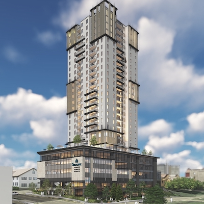 IMAGE: Skydevco, part of the Skyline Group of Companies, plans to develop this multi-use tower in Guelph, Ont. (Courtesy Skydevco)