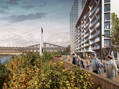 IMAGE: Cocité Lévis is a $315-million, mixed-use development by Groupe Humaco which will be constructed just across the St. Lawrence River from Quebec City. (Courtesy Groupe Humaco)