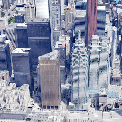 IMAGE: Bay Street in Toronto has retained its standing as Canada's most expensive place to rent office space, according to JLL's 2019 rankings. (Google Street View)