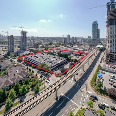 IMAGE: Grosvenor Americas has now amassed a 7.9-acre property adjacent to the Burnaby Brentwood Skytrain station and The Amazing Brentwood development. (Courtesy Grosvenor)