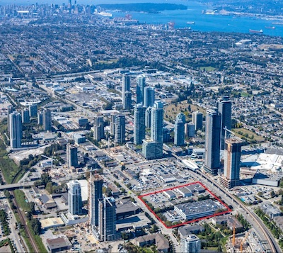 IMAGE: This aerial view of the Brentwood Town Centre area in Burnaby illustrates the intense amount of development the neighbourhood has undergone, and continues to experience. (Courtesy Grosvenor)