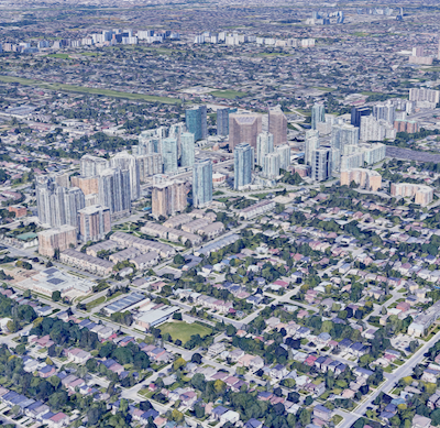 IMAGE: Among the changes illustrated in Altus Group's report tracking 60 years of housing starts is the type of housing being built ... from single-family homes to semis, townhomes and multiresidential. (Google Street View)