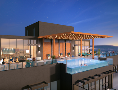 IMAGE: The Bertram is to include rooftop amenities including a sky pool and lounge with 180-degree views of Okanagan Lake, lounge seating, and a co-workspace to take in the mountain and valley views. (Courtesy Mission Group)