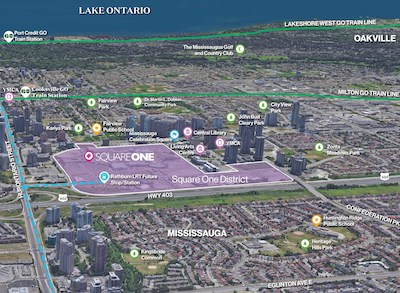 IMAGE: Map view of 130-acre Square One District and the surrounding area in Mississauga.(Courtesy Oxford Properties)