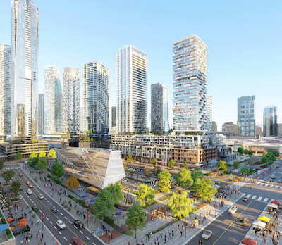 IMAGE: Artist's conception of The Strand, the transit-connected and pedestrian-friendly heart of Square One District (Courtesy Oxford Properties)