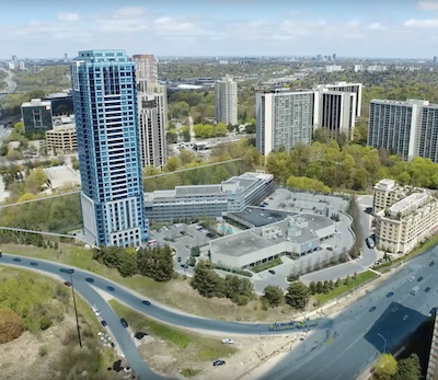 IMAGE: The Toronto Don Valley Hotel and Suites and adjacent property, considered a prime location for additional future development, or redevelopment. (Courtesy CBRE)