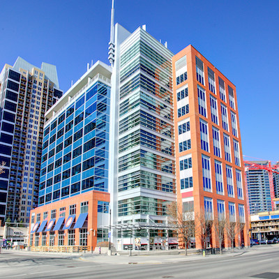 IMAGE: The Stampede Station office complex in Calgary. (Courtesy Crestpoint)