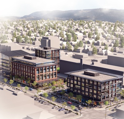 IMAGE: The Hive will be a three-building downtown office and commercial development in Kamloops, B.C. (Courtesy A & T)